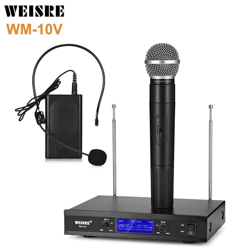 WEISRE WM-10V A-B Sans Fil Sensible À Condensateur Cardioïde Microphone Handy W Tête-Porter Fr Karaoké Chant Diffusion Microphones