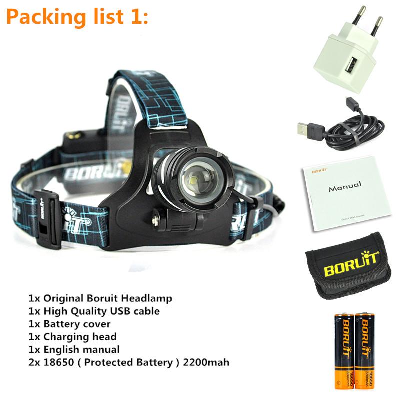 Boruit led light Rechargeable headlight High power head lamp Flashlight Headlamp 1000 Lumens Headlamps power by 3x AAA batteries (17)