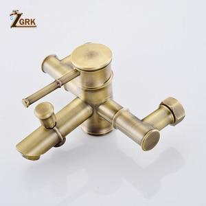 Image 4 - ZGRK Shower Faucets Brass Golden Wall Mounted Rainfall Bathroom Faucet Big Round Shower Head Handheld Bathtub Mixer Tap Set