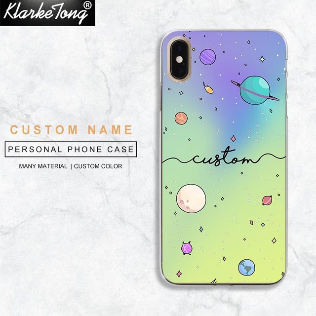 Us 6 73 Klarketong Personalized Text Custom Universe Planet Phone Case For Iphone 6 6s Plus Xs Max Xr 8 7 Plus 5 5s Se Stars Moon Covers In Fitted