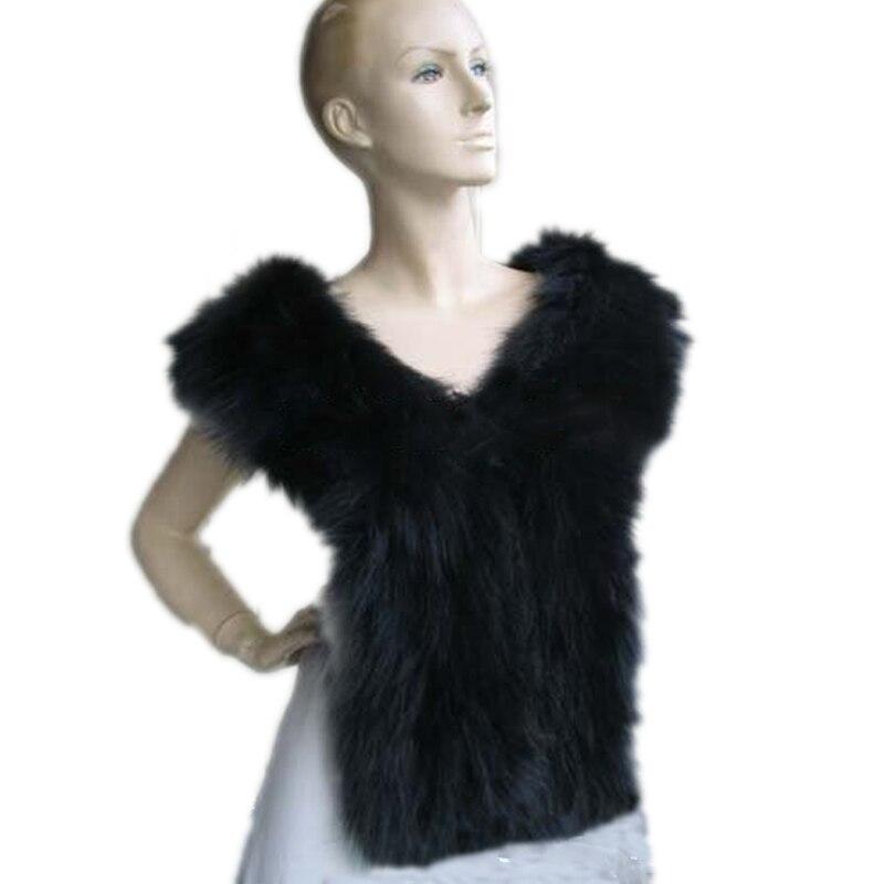 Женский шарф натуральным лисьим мехом вязаные накидки женские зимние теплые кольцо пашмины черный(172 см* 17 см