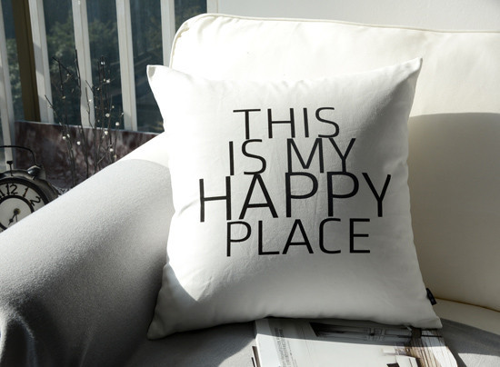 modern quote cushion cover happy place letters throw pillow case nordic black white decorative pillows sham - Black And White Decorative Pillows