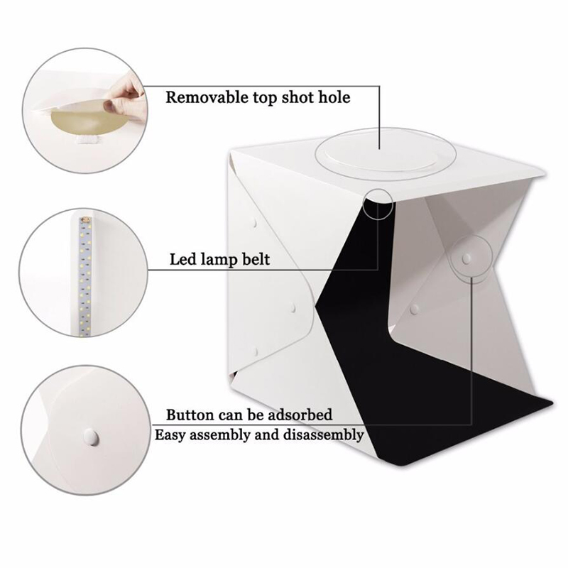 Image 5 - Baolyda Portable LED Studio Photo Box 24/30/40cm Photo Studio Accessories with Black/White Backgrounds for Photo Studio Softbox-in Photo Studio Accessories from Consumer Electronics