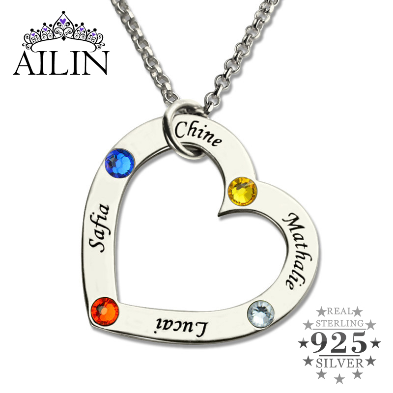 Wholesale Birthstone Heart Necklace in Silver Personalized Children Names Mother Necklace Family in Your Heart Jewelry for Mom цена