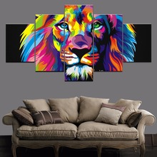 Animal Artistic Colorful Lion HD Print Painting 5 Piece Canvas Wall Art Home Decor Living Room