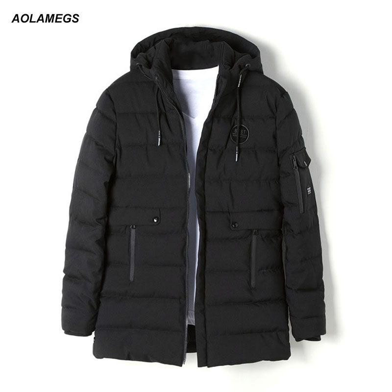 Aolamegs Winter Jacket Men Hooded Cotton-padded Clothes Warm Coat Zipper Pocket Korean Fashion Casual Padded Jackets Windproof мужской пуховик al men s padded jacket winter warm hooded jacket