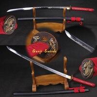 Полный ручной работы японская катана клинок из дамасской стали ГЛИНА закаленное Настоящее самурайский меч острый край гравированное лезви