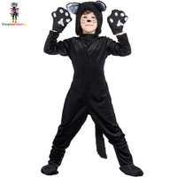 שחור בעלי החיים חתול ילדים ליל כל הקדושים תלבושות חם בוי/ילדה גבוהה Rompers מדים ביצועי מסיבת ילדי 110-140 ס