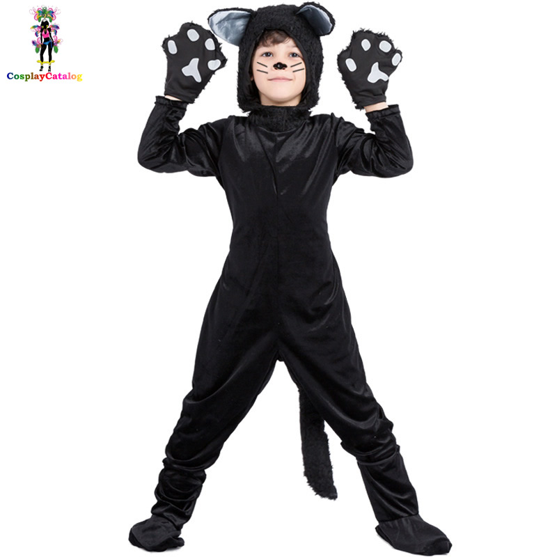 Black Animal Cat Kids Halloween Costume Hot Boy/Girl Rompers High 110-140 cm Children Party Performance Uniforms Childs Costumes
