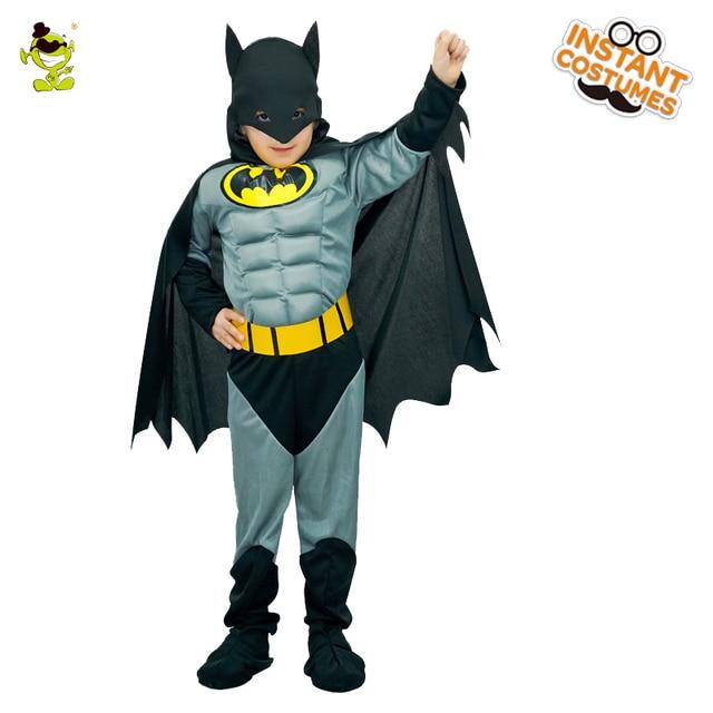 Meninos Muscular Trajes Batman com Capa Crianças Personagem do Filme Super hero Dramatização Roupa do Dia Das Bruxas Carnaval Corajoso hero Cosplay Conjunto