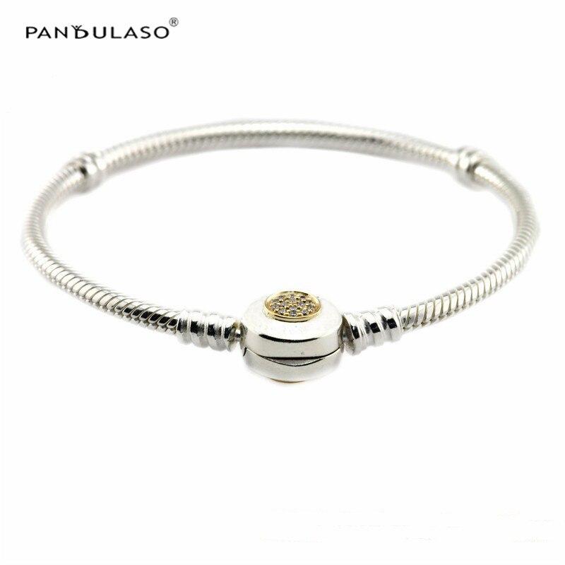 Pandulaso Signature A Marqué Cristal Fermoir Avec du vrai Or Serpent Chaîne bracelets en argent pour les Femmes Mode Argent 925 bijoux diy