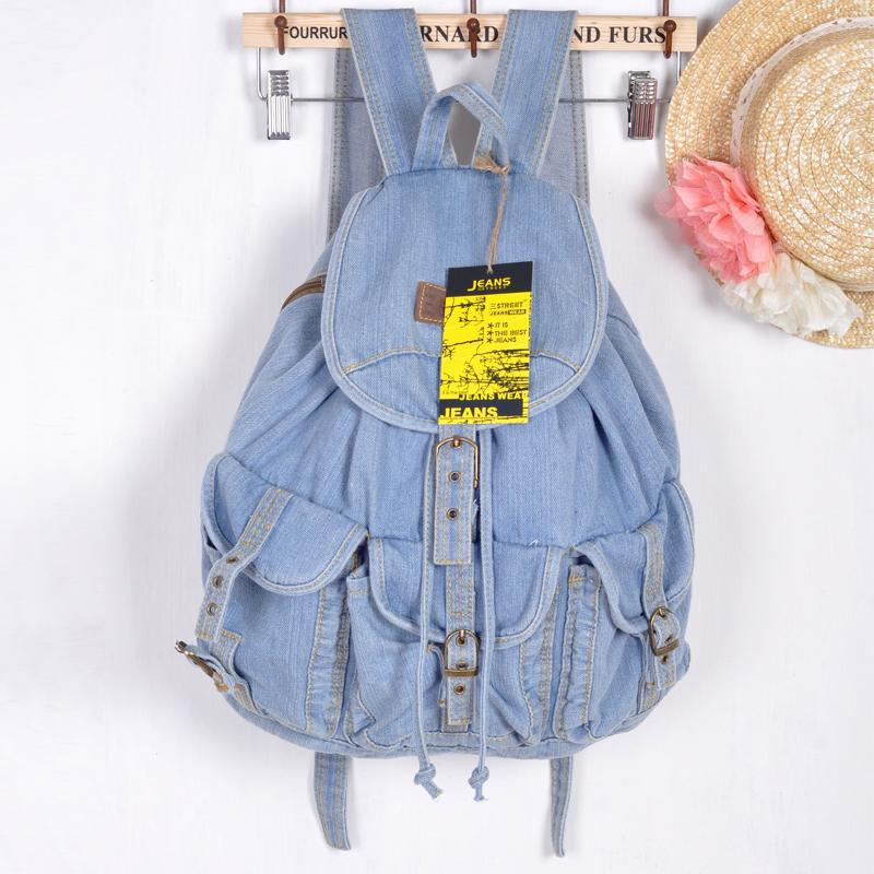 Classic Vintage Fashion 3 Pockets Denim Jean Women Backpacks Retro Style Backpack Bags Girls School Bags Travel Casual daypacks-in Backpacks from Luggage & Bags    1