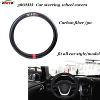 Car Styling 380MM Car Steer Wheel Covers Carbon Fiber Leather PU Steering Wheel Cover For Nismo