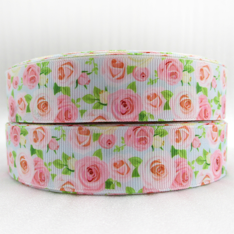 Flowers High Quality Printed Polyester Ribbon 10 Yards 25mm Diy Handmade Materials Initiative 1 Wedding Gift Wrap,10yc716