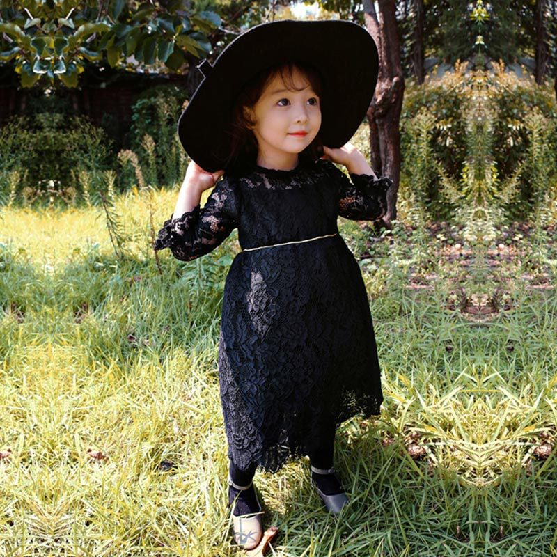 ФОТО 2017 New Girls Dress Lace Children Cute Long Sleeve Dress Toddler Floral Baby Beautiful Spring Dress,3-14Y