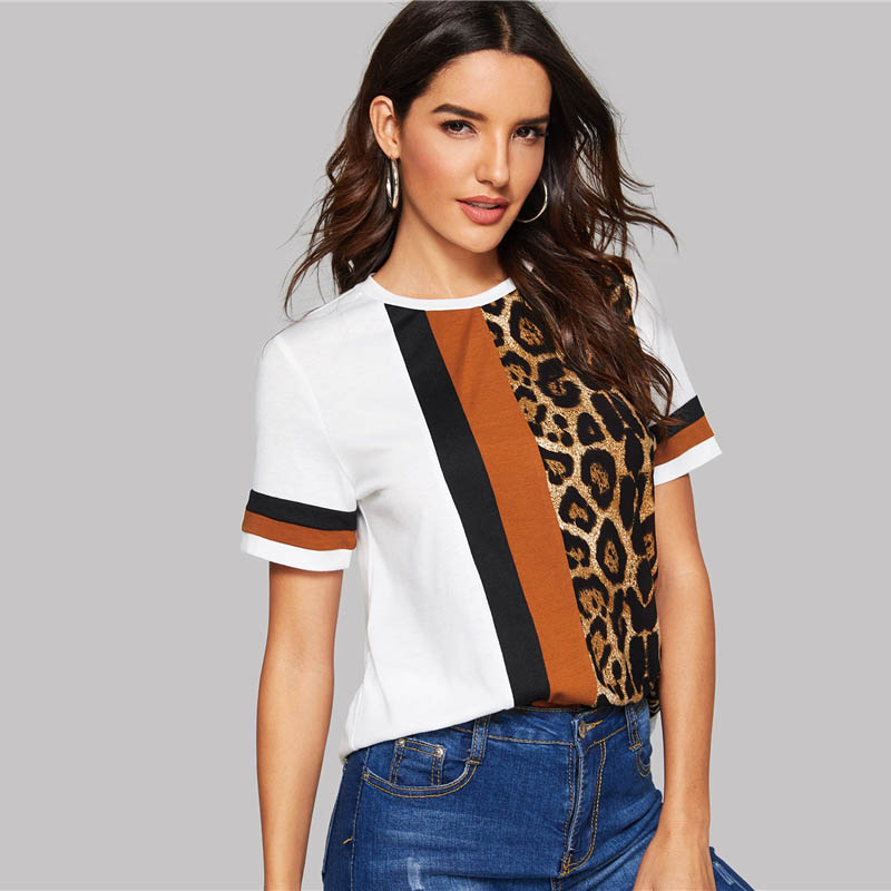 Block Cut-and-Sew Leopard Panel Top Short Sleeve O-Neck Casual T Shirt 42