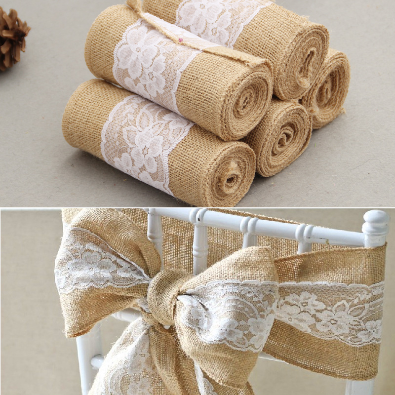 15cm 240cm jute burlap lace hessian natural naturally for Diy jute