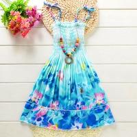 Baby Girls Dress Brand Summer Beach Style Floral Print Sundress For Girls Vintage Toddler Girl Clothing