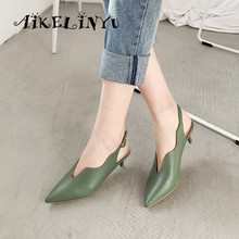 AIKELINYU Summer Brand Lady Sandal  Cow Leather Pointed Toe Sexy Low-heel Shoe Green Buckle Strap Wedding Party Women Shoes