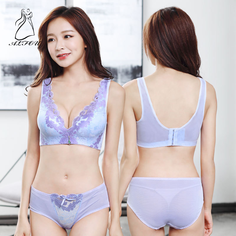 Women Received Breast Big Code No Steel Ring Sexy Bra Set Deep V Gather Adjustment Thin Cup U-shaped Beauty Back Underwear