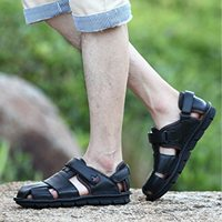 AUAU Genuine Leather Summer Shoes Men Sandals Fashion Casual Shoes Male Sandalias Beach Shoes Soft Bottom Breathable Men Slipp