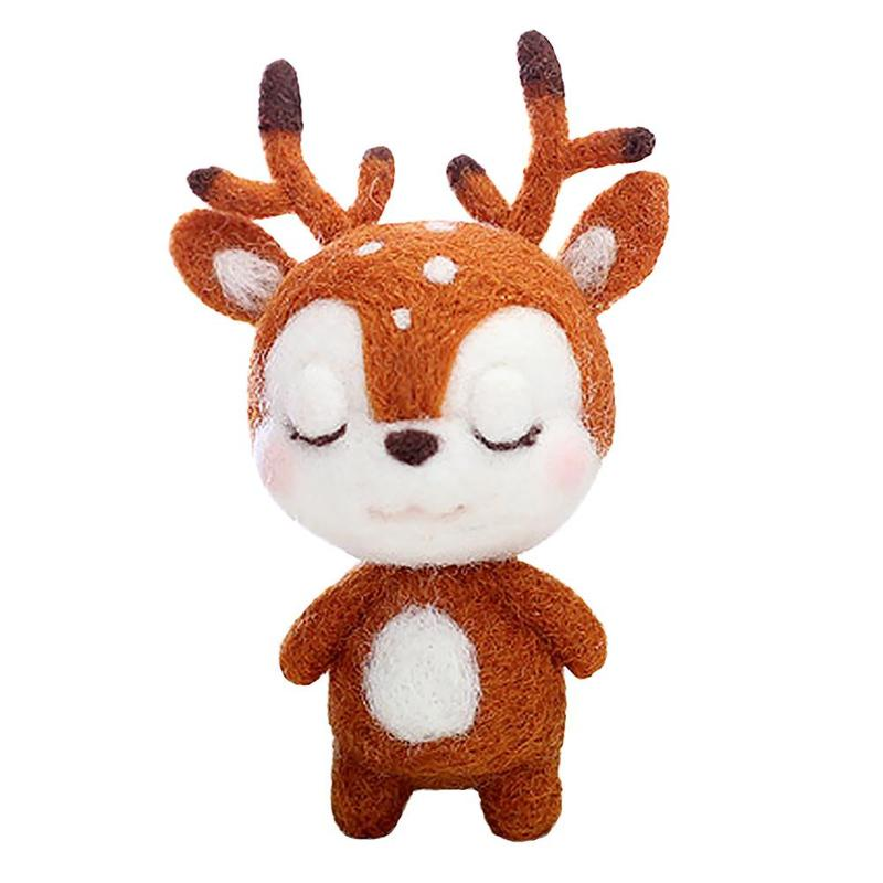 Felt Craft Lovely Sika Deer Felting Poked Free Shipping Wool Felt Poked Set Handmade DIY Felt For Needle Material Bag