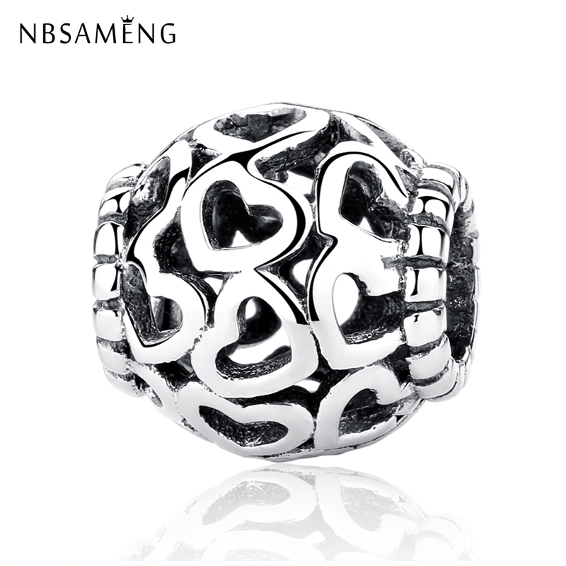 Original 100% 925 Sterling Silver Charm Beads Open Your Heart Filigree Charms Rose Gold Fit Pandora Bracelets Women Diy Jewelry
