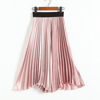 New Vintage Women High Waisted Metallic Luster Skater Pleated Skirt Spring Summer Autumn Fall Solid Flared