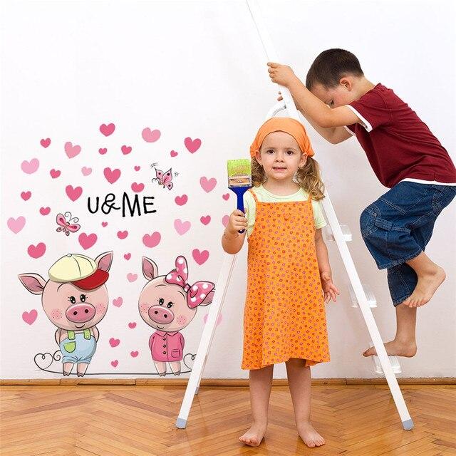 KAKUDER Wallpaper Adesivo Porco Cor de Rosa Bonito dos desenhos animados Adesivo de Parede Sala de estar Crianças Quarto Sofá Fundo Decoração Da Parede Adesivo 6FEB24