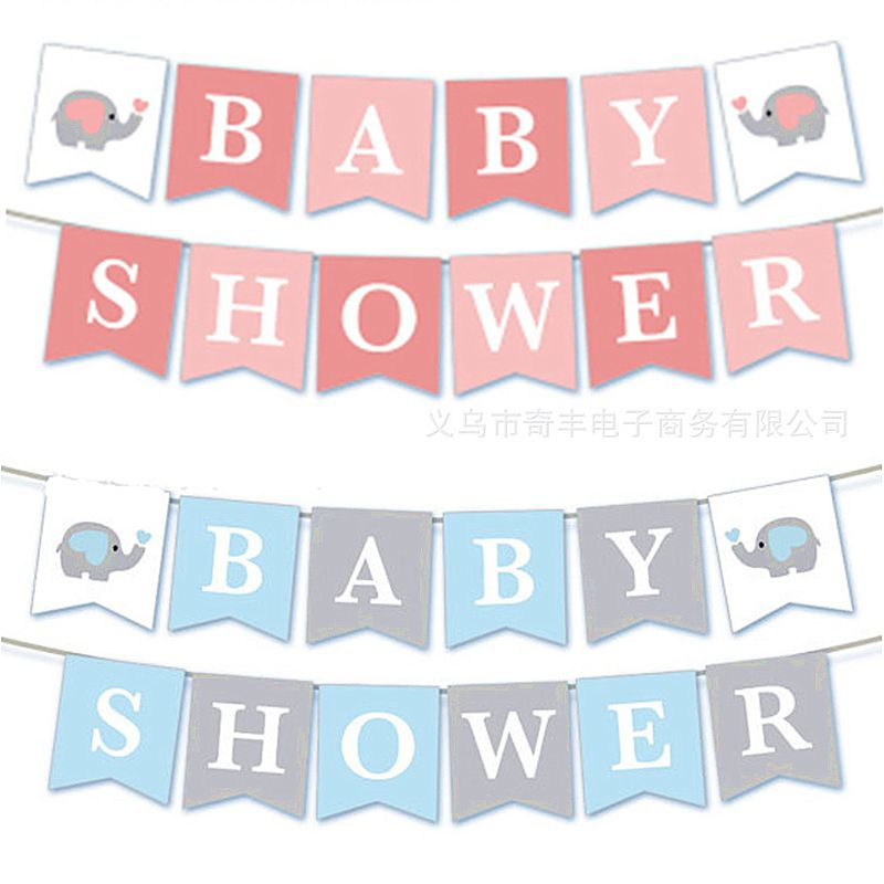 Elephant Baby Shower Banner Party Supplies Decoration 3m Blue Or Pink