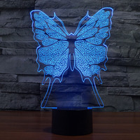 3D illusion Lamp LED Night Light Cartoon 3D butterfly 7 Colors Acrylic Discoloration Colorful Atmosphere Lamp Novelty Lighting