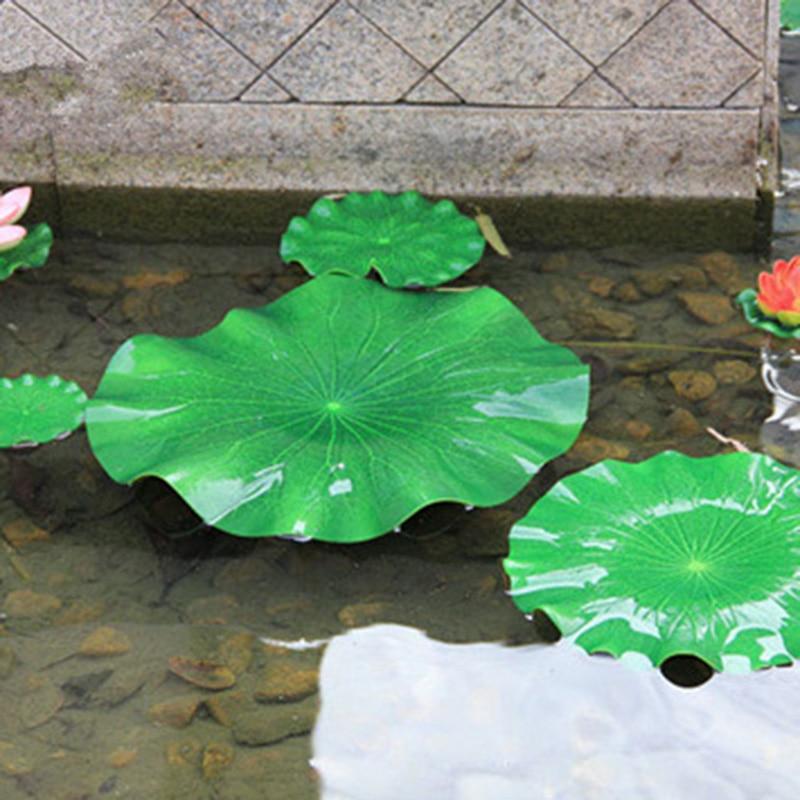 2Pcs Simulation Lotus Leaves Fake Flowers Green Plants Water Floating Fish Tank Pool Decoration Landscape Ornaments 7cx939