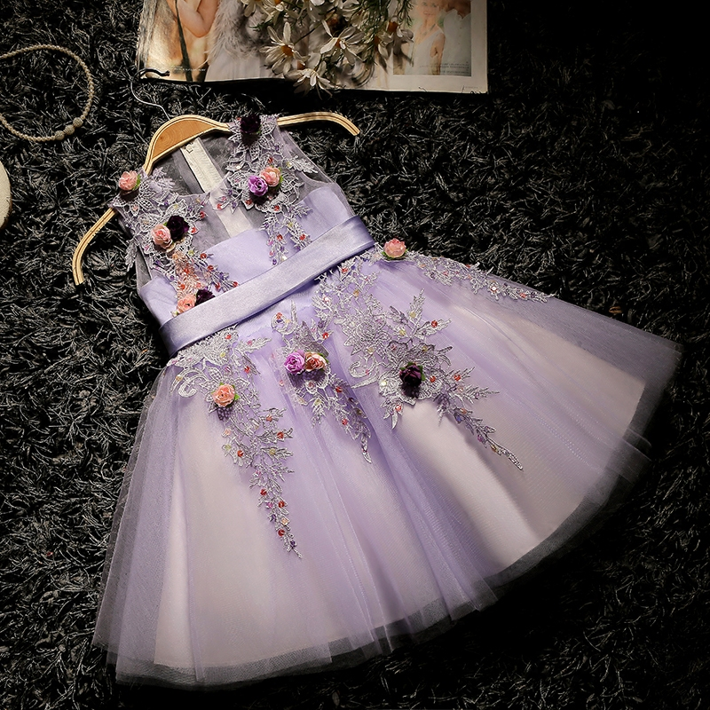 Ball Gown Luxury Princess Dress 2018 New Appliques Kids Pageant Dress For Wedding Birthday Flower Girls Dresses Communion D112 luxury blue appliques girls pageant dresses ball gown children birthday wedding party dress teenage princess gown custom made