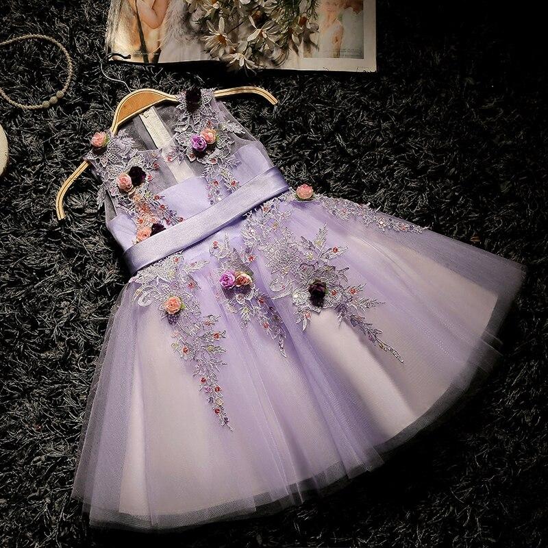 Ball Gown Luxury Princess Dress 2018 New Appliques Kids Pageant Dress For Wedding Birthday Flower Girls Dresses Communion D112