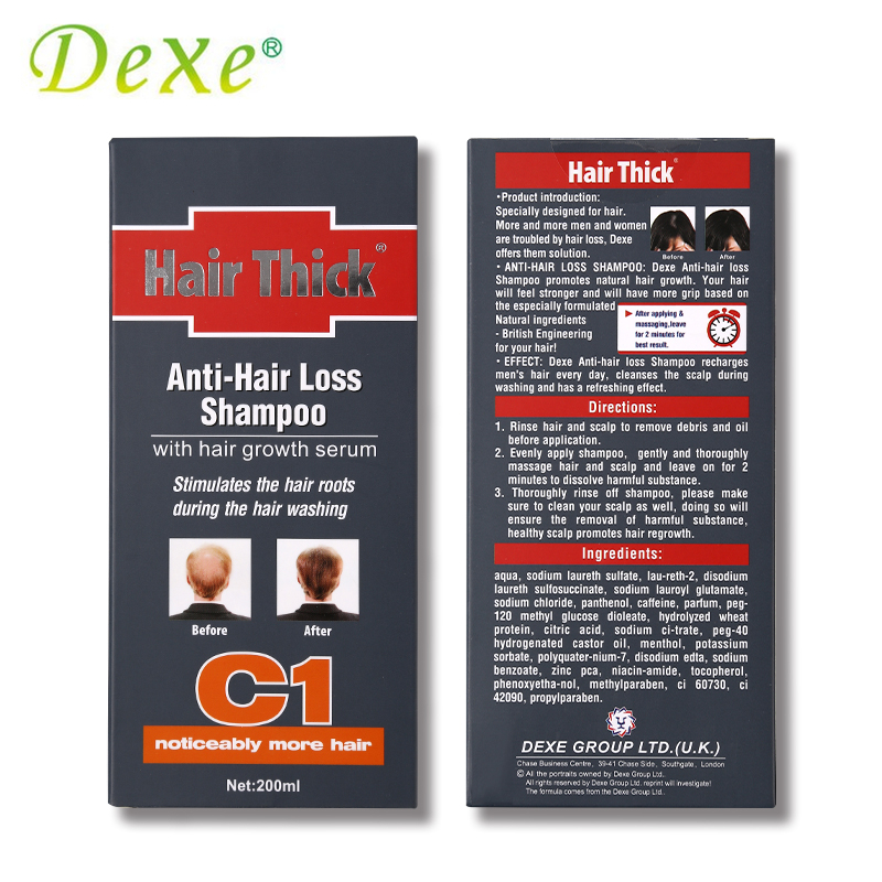 1PC 200ml Dexe Black Hair Shampoo Anti Hair Loss Chinese Herbal Polygonum Multiflorum Hair Growth Treatment For Men & Women