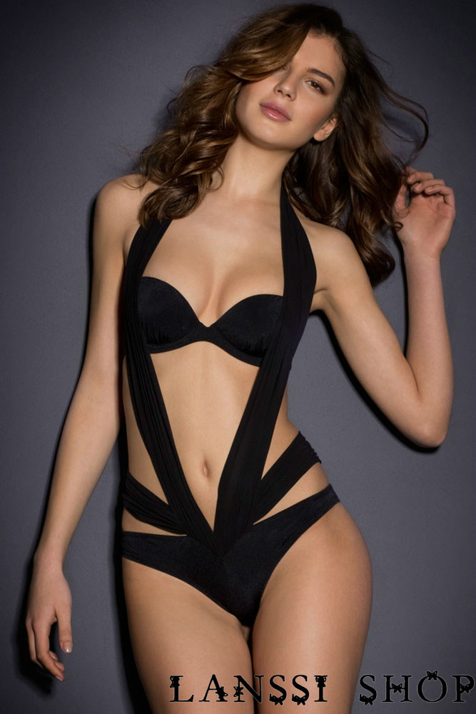 LANSSI SHOP Black Halter One Piece Swimwear For Mature Women With Strapless  Bra Drop Shipping Service W06137