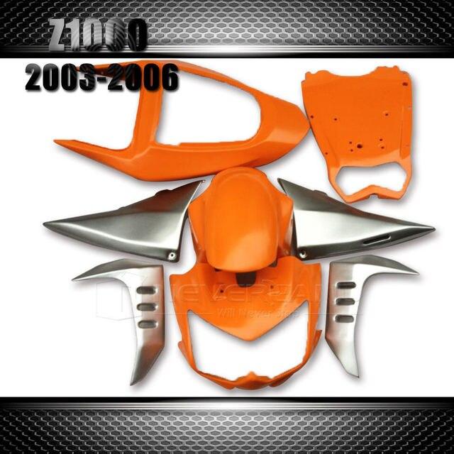 For Kawasaki Z1000 Z 1000 2003 2004 2005 2006 Bodywork Motorcycle Fairing kit  ABS Plastic Orange&Silver Wholesale
