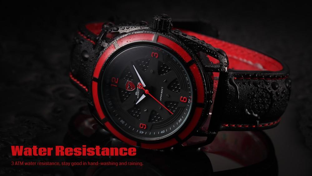 นวดฉลามกีฬานาฬิกาสีแดงกลวงLugกรณี3DแบบDialหนังสีดำวงส่องสว่างมือควอตซ์ผู้ชายRelógio Masculino/SH472 10
