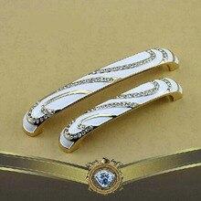 128mml ivory white gold kitchen Cabinet handle diamond crystal dresser cupboard pull drawer Wardrobe Furniture handles 5″