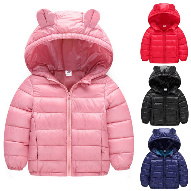 Children Boys Girls Down Jacket Winter Warm Kids Coat Children Cotton Casual Hooded Thick Outerwear Cute Ears 2016 winter thick down jacket fashion girls boys cotton hooded coat children s jacket warm outwear kids casual outwear 16a12