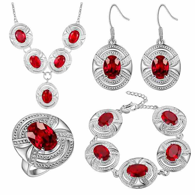Thick silver jewelry set of foreign trade accessories, beautiful wholesale Ruby fashion