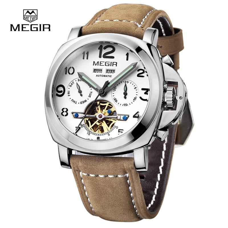 Gratis frakt Megir 3206 Luminous Mechanical Watch Men Äkta Nubuck - Herrklockor - Foto 5