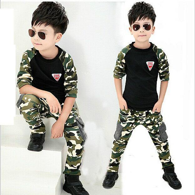 2017 New Camouflage Kids Clothing Set for Boys Girls Spring&Autumn Cotton Camo Boys Sports Set Active Girls Clothing Sets