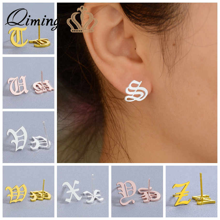 26 Old English Custom Stud Earrings For Women Girls Stainless Steel Jewelry Cheap Capital Initial Alphabet Letter Earring Gift