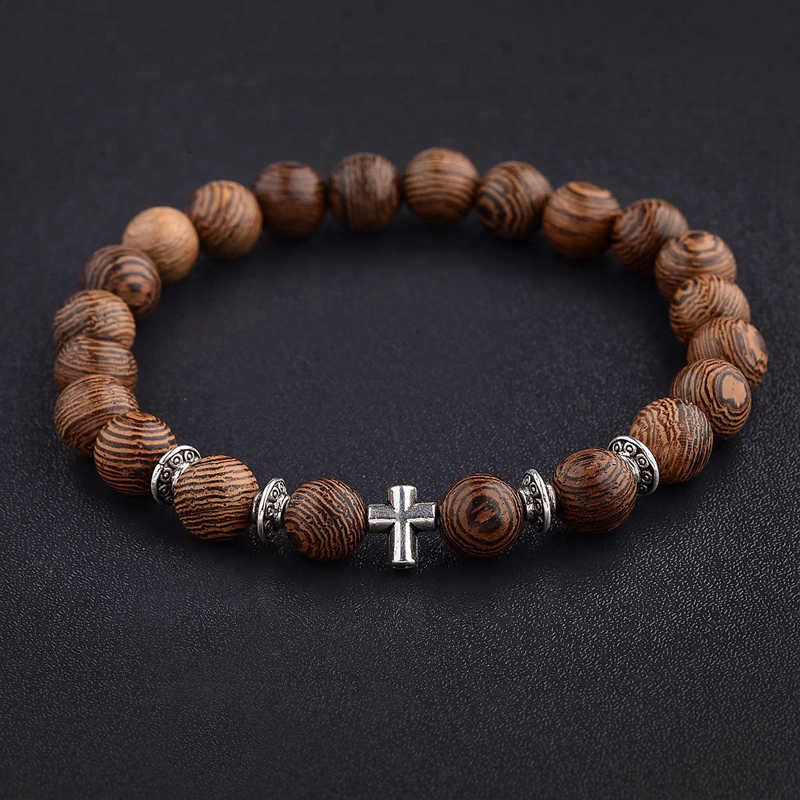 Amader Hot Men Natural Wood Beads Cross Bracelets Onyx Meditation Prayer Bead Bracelet Women Wooden Yoga Jewelry Homme