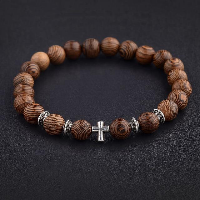 Amader Hot Men Natural Wood Beads Cross Bracelets Onyx Meditation Prayer Bead Bracelet Women Wooden Yoga Jewelry Homme