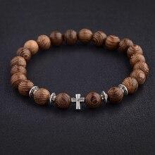 Hommes chauds perles en bois naturel croix Bracelets Onyx méditation prière perle Bracelet femmes en bois Yoga bijoux Homme