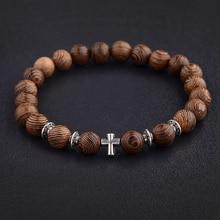 Hot Mannen Natuurlijke Hout Kralen Kruis Armbanden Onyx Meditatie Gebed Bead Armband Vrouwen Houten Yoga Sieraden Homme