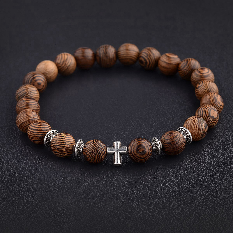 Hot Men Natural Wood Beads Cross Bracelets Onyx Meditation Prayer Bead Bracelet Women Wooden Yoga Jewelry Homme