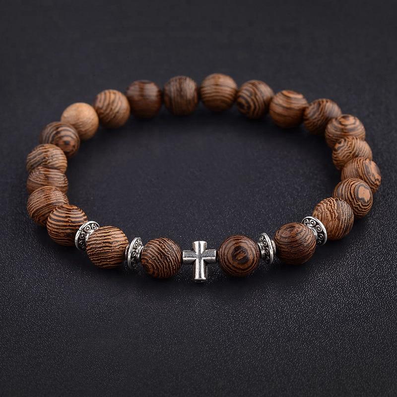 Популярные мужские браслеты из натурального дерева с бусинами и крестом, оникс для медитации и молитвы, браслет из бусин, женские Деревянны...